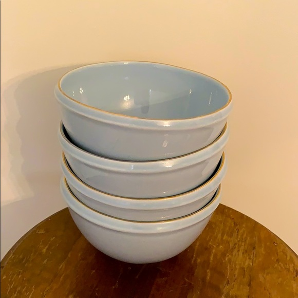Anthropologie Blue Bowls with Gold Rim- Set 4